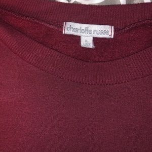 Charlotte Russe cropped maroon pullover